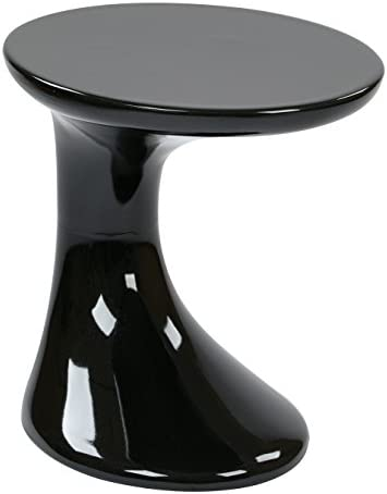 AVE SIX Slick High Gloss Finish Side Occasional Table, Black