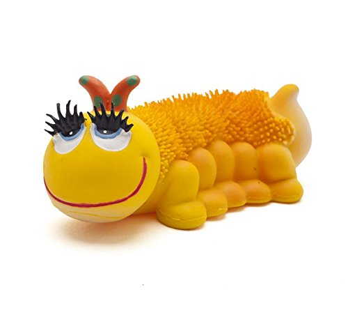 Sensory Caterpillar Dog Toys. 100% Natural Rubber (Latex). Lead-Free & Chemical-Free. Complies to Same Safety Standards as Children's Toys. Soft & Squeaky. Best Dog Toy for Medium Dogs.