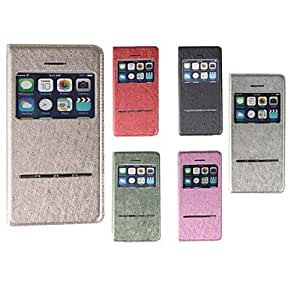 GDW KLW Silk Print PU IC Window Intelligent Holster for iphone5/5S (Assorted Colors) , Argento