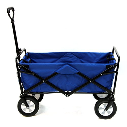 Garden Wagon - Mac Sports Collapsible Folding Outdoor Utility Wagon, Blue