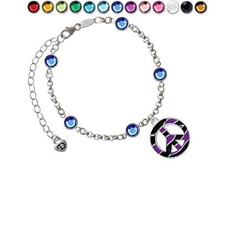 Large Purple Tiger Print Peace Sign Custom Crystal Color Fiona Charm Bracelet ()