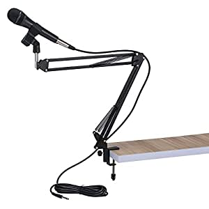 Universal Adjustable Desk Microphone Stand Suspension Arm Stand BS-35 with 2-Pack Universal Microphone Clips,BLACK