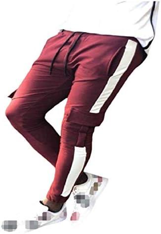 Romancly メンズミッドウエストポケットカジュアルスリムプラスサイズパッチワークジョガーパンツ