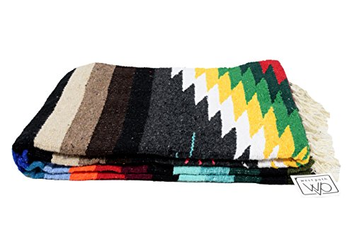 Mexican Yoga Blanket, Navajo Aztec Diamond XL Thick Serape with Stripes-Charcoal Black