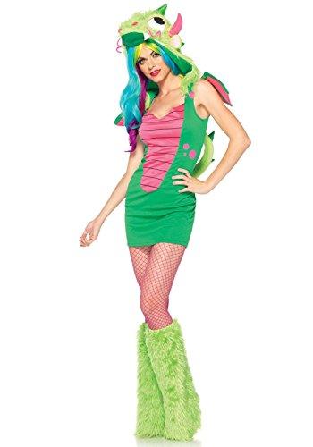 Wonder Woman Costume Hot (Leg Avenue Women's 2 Piece Magic Dragon Costume, Green/Hot Pink, X-Small)