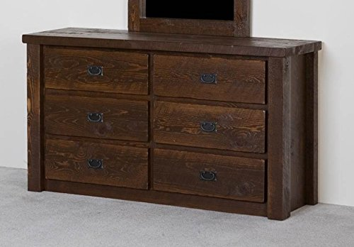 Barnwood 6 Drawer Log Dresser (Honey Pine Barnwood)