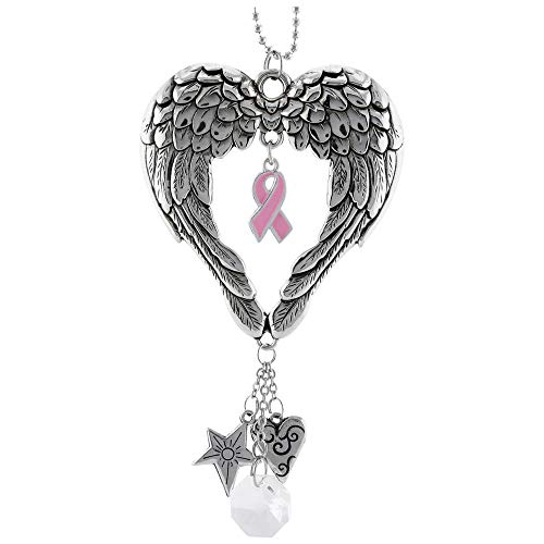 GreaterGood Wings of an Angel Pink Ribbon Car Charm