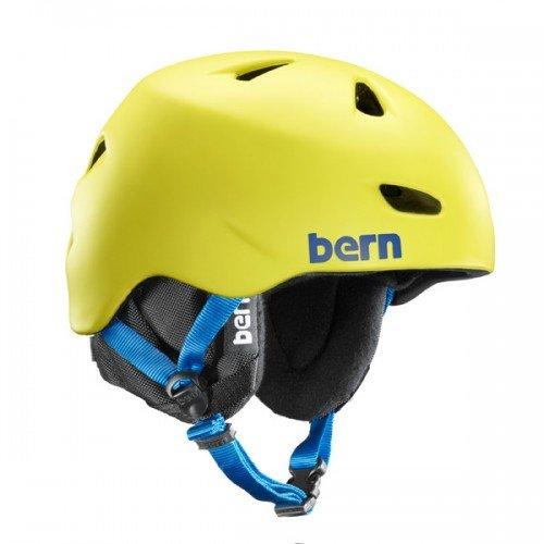 Bern Unlimited Brentwood Matte Finish Snow Helmet with Black Knit, Neon Yellow, Large/X-Large (Bern Yellow Helmet)