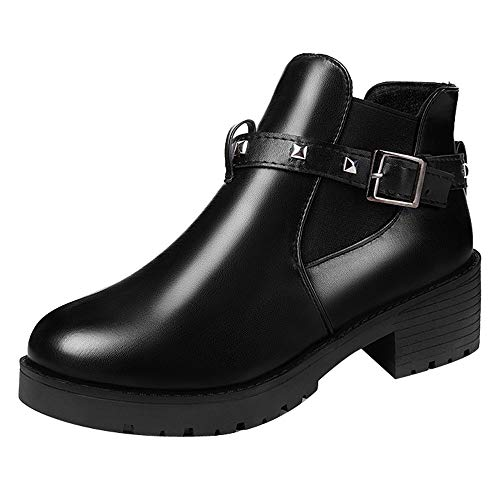 7776d1d28b6b7 Hunzed Women【Leather Buckle Boots】 Women Retro Belt Buckle Rivet Shoe  Female Motorcycle Boots with Ankle Boots (6 M US, Black)
