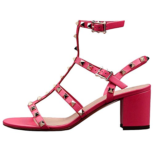(Comfity Sandals for Women,Rivets Studded Strappy Block Heels Slingback Gladiator Shoes Cut Out Dress)