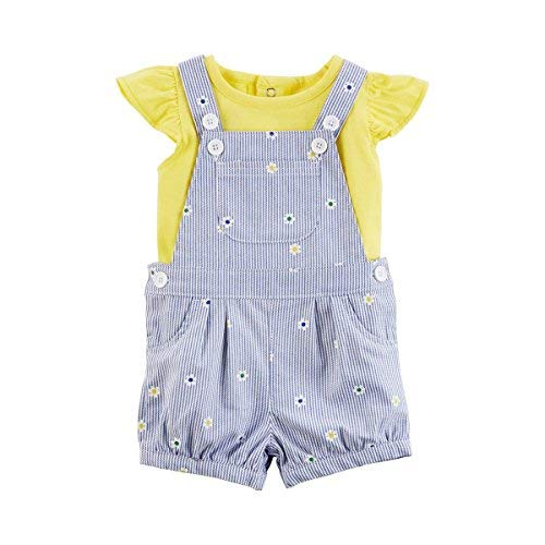 Carter's Baby Girls' 2 Piece Flutter Sleeve Tee and Embroidered Shortall Set 6 Months Yellow