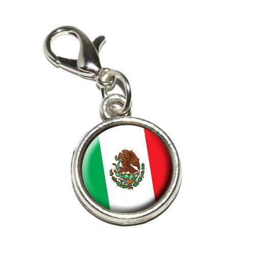 Graphics and More Mexico Mexican Flag Antiqued Bracelet Pendant Zipper Pull Charm with Lobster Clasp