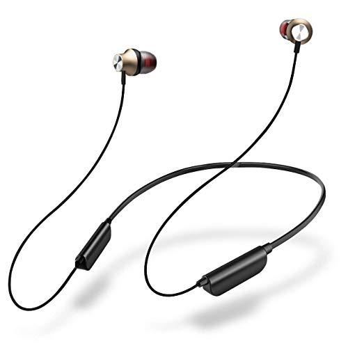 Wireless Earbuds Best Sports Earphones Magnetic Sweat-Proof in Ear Earbuds Bluetooth Headphones for Gym Running Workout 5 Hour Battery Noise Canceling Headsets (Gold)