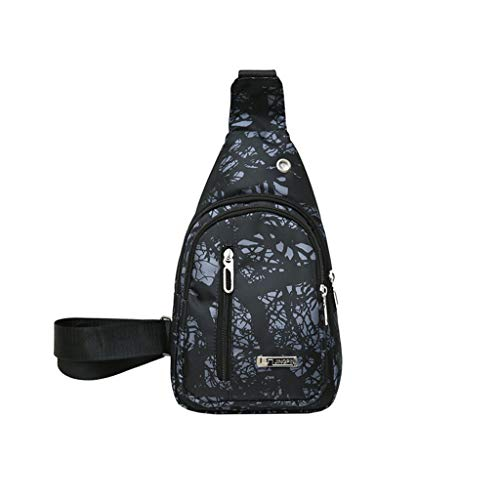 - Clearance Sale!DEESEE(TM)Unisex Lover Fashion Bag Stone Rift Texture Shoulder Bag Crossbody Bag Chest Bag (Black)