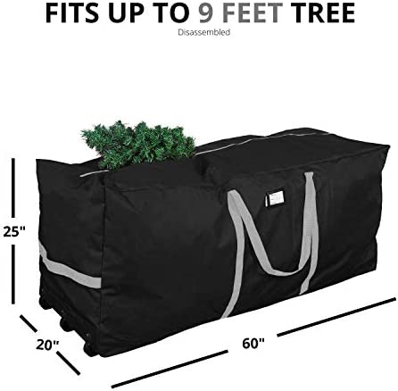"Primode Christmas Tree Storage Bag, Fits Up to 9 toes. Tall Xmas Holiday Trees, 25"" X 20"" X 60"", Extra Large Heavy Duty Xmas Box Container with Wheels and Handles (Black)"