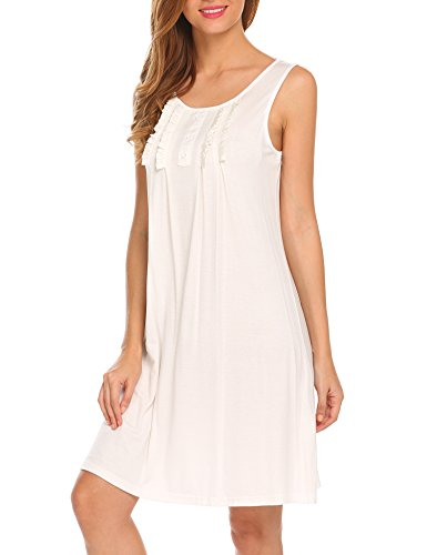 Hotouch White Nightgown Cotton Ladies Night Shirt Loungewear