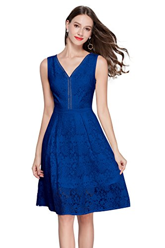 (VEIIASR Women's Vogue Lace V-Neck Chic Cocktail Party Sleeveless Dress (Small, Deep)