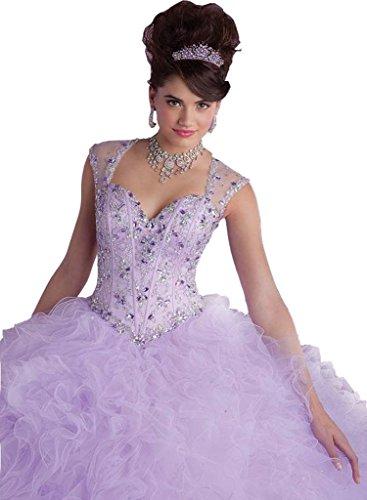 Donne Abito Quinceanera Angela Sera Perline Lilla Delle Cinghie Prom Vestito Da Increspato 1qHwII
