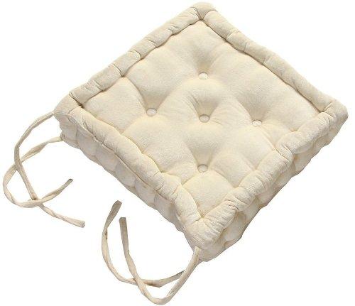 Homescapes Coussin rehausseur QUALITE supérieure (40 x 40 x 10cm) CONFORT pour chaise de salon. Pur coton ULTRA DOUX. Couleur CREME