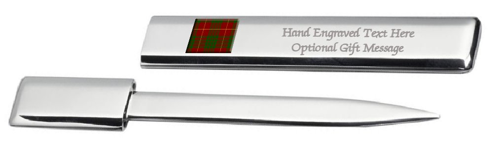 Engraved Post Letter Opener Cufflinks Tartan Clan Cameron