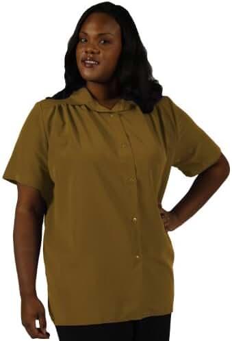 Honey s.s. tunic w/shirring Plus Size Woman's Blouse