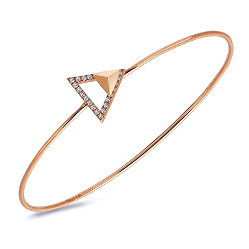 TARA Legacy 14k Gold Diamond Arrow Stud Bangle (0.12cttw, G-H Color, SI1-SI2 Clarity)