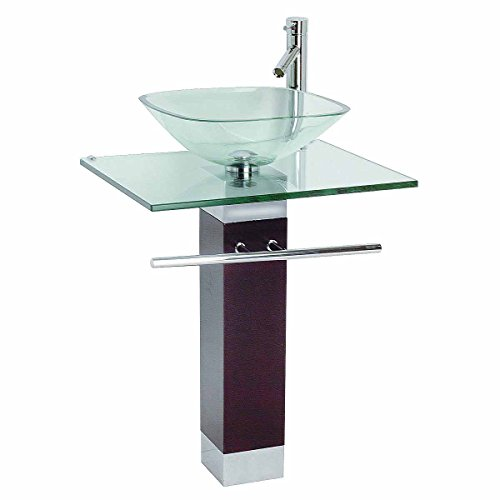 Tempered Glass Pedestal Sink, Chrome Faucet, Towel Bar and Drain Combo (Sink Petite Bathroom Pedestal)