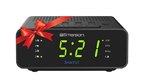 Emerson CKS1800 SmartSet Alarm Clock Radio with AM/FM Radio, Dimmer, Sleep Timer and .9 LED Display