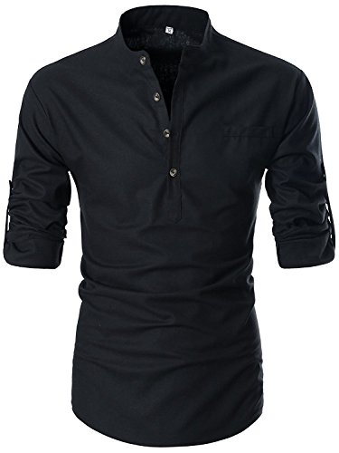 KEYBUR Beloved Mens Henley Neck Long Sleeve Popover Daily Look Linen Shirts (L, Black)