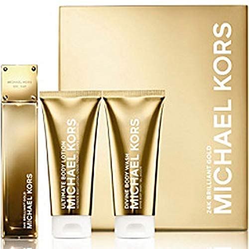 24k Gold Set - Michael Kors 24K Brilliant Gold Set 3.4 Edp + 3.4 Bl + 3.4 Bw