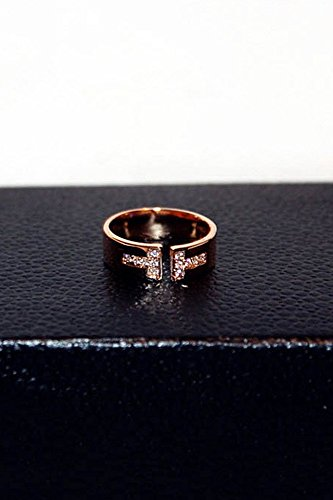 Generic Europe and America tide rose gold cross ring opening women girls lady Korean temperament diamond ring jewelry gift to live