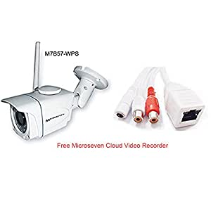 Microseven M7B57-WPS HD 960P 3MP Lens 2-way Audio Security Wireless IP Camera PoE SD Slot 64GB P2P Outdoor WiFi Night Vision with iOS/Android App, Free M7 Cloud +Free Live Streaming on microseven.tv