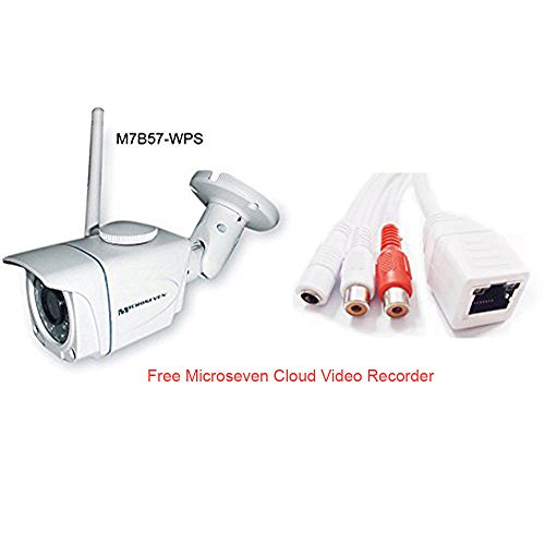 UPC 018406633180, Microseven M7B57-WPS 3MP 3.6mm Lens HD 960P Wireless IP Camera PoE SD Slot 64GB Audio P2P Outdoor WiFi Night Vision Free 24hrs Video History In Cloud Video Recorder & Live Streaming on microseven.tv