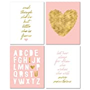 8  x10  Gold Heart Nursery Prints for Baby Girl & Children Room Decor & Decorations Perfect for Baby Shower Gift Ideas …