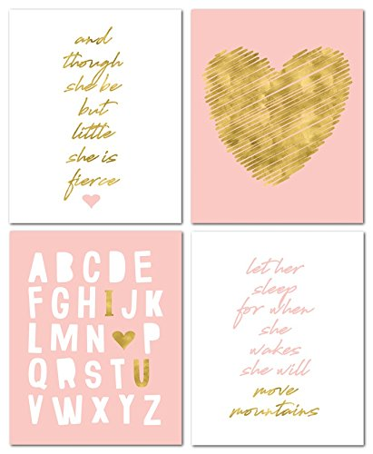 "8"" x10"" Gold Heart Nursery Prints for Baby Girl & Children Room Decor & Decorations Perfect for Baby Shower Gift Ideas ..."
