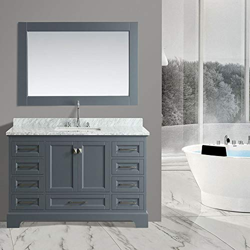 Design Element DEC068D-G 54-inch Omega Collection Marble Single-Sink Bathroom Vanity Combo Set with Matching Mirror, Gray (Banity Bathroom)