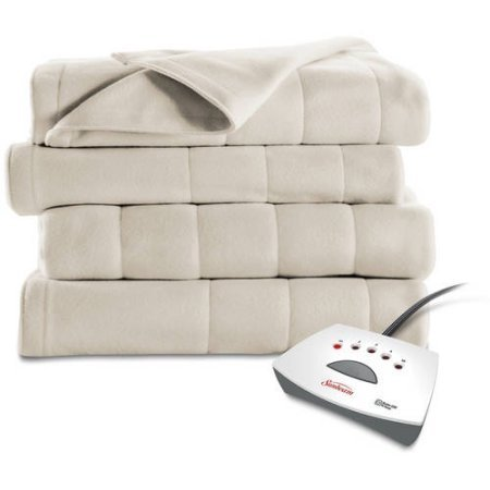 Sunbeam Electric Heated Fleece Blanket (Twin, Seashell)