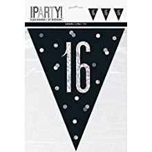 Unique Party- Bandera, Color black & silver (83423)