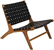 """Contemporary Home Living 30.5"""" Brown and Black Hand Crafted Teak Wood Dark Marty Chair"""