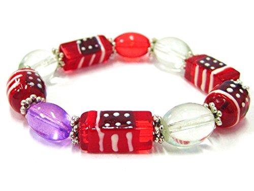 Rectangle Beads Stretch Bracelet (Linpeng 21 by 10mm Rectangle/11 by 13mm Oval Hand Painted Glass Beads Stretch)
