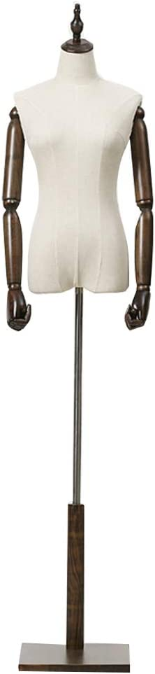 132-192CM MOXI JUMO Female Body Form,Female Mannequin Torso Clothing Display with Wooden Base,Adjustable Height