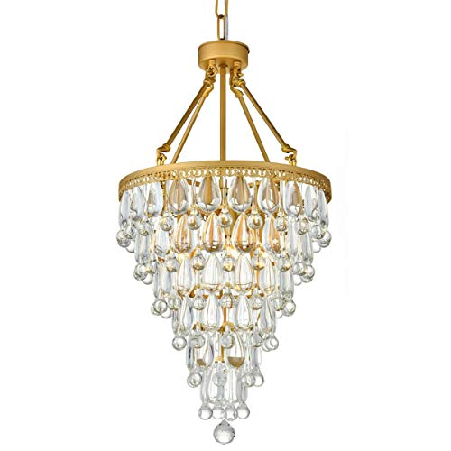 Round Chandelier Modern (Modern Clear Crystal Raindrop Round Chandelier Flush Mount LED Ceiling Light Fixture Pendant Lighting Lamp for Dining Room Bathroom Bedroom Livingroom 4 E12 Bulbs Required H28 in X D16in)