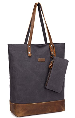 Vintage Leather Canvas Tote,Vaschy Water Resistant Large Shopper Work Bag for Women with Padded 15.6 inch Laptop Sleeve and Detachable Pouch