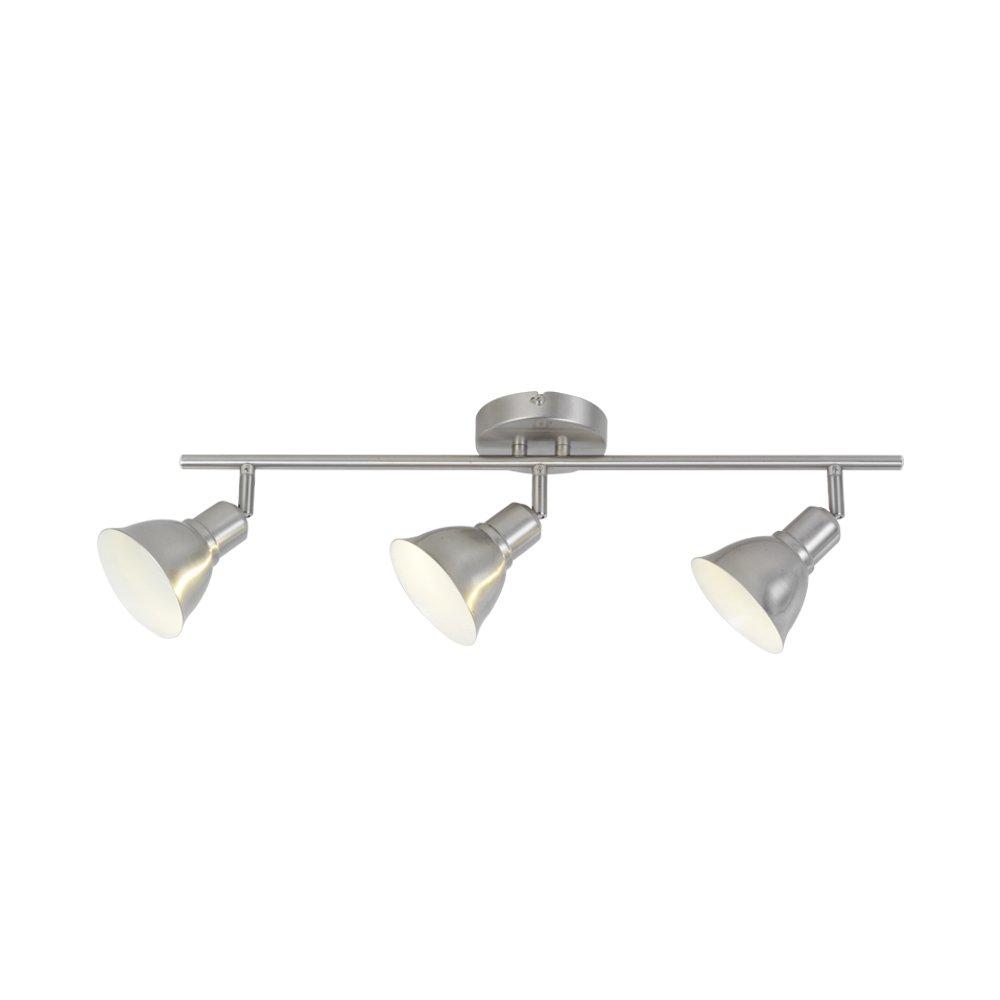 3-Light Adjustable Track Lighting Kit, Brushed Nickel Finish,3 Bulbs Included