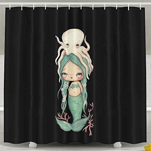 ghknjjkg Baby Octopus and Baby Mermaid Shower Curtain,Waterproof Polyester Shower Curtain Sets for Men/Women