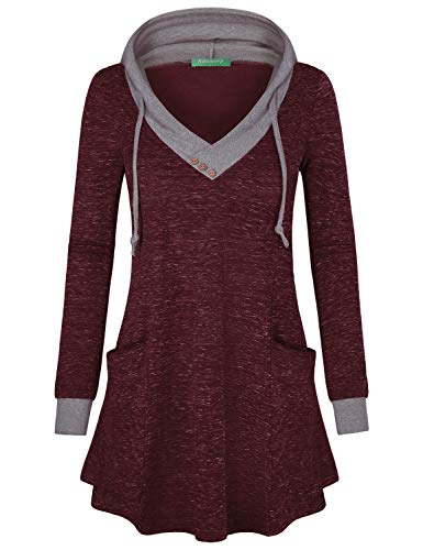Kimmery Wine Hoodies, Tunics for Women Loose Fitted V Neck Long Sleeve Casual Style A Line Roomy Hem Attached Hood with Drawstring Cute and Comfortable Vacation Tunic Tops X-Large ()