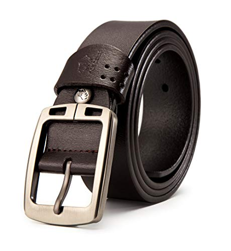 - BISON DENIM Belt for Men Genuine Leather Casual Buckle Belt for Jeans Dress Fashion&Cool (Brown-70781-3Z, 115(waist size:36.5'' to 39''))