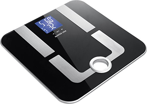 GoWISE USA Digital Body Fat Scale - FDA Approved - Measures Weight, Body Fat, Water & Bone Mass, 400 lbs Capacity, Tempered Glass (Black)