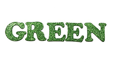 "Green Metallic Glitter HandCut Chipboard Letters Alphabet set Sickers 1.5"" Cooper Font Uppercase"