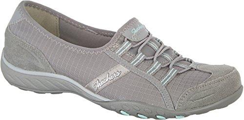 Allure Footwear (Skechers Relaxed Fit Breathe Easy Allure Womens Slip On Sneakers Gray 6)